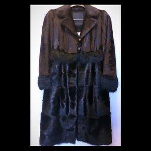 FENDI Chocolate Brown / Black Goat Alpaca Fur Coat